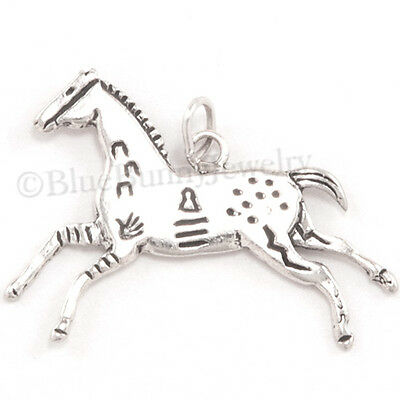 PAINTED HORSE Native American Indian war Charm Pendant 925 STERLING SILVER