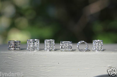 30 Silver Dreadlock Hair Beads Filigree Cuffs 7mm Hole (9/32') FREE Tibetan Bead