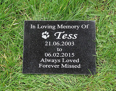Personalised Engraved Pet Dog or Cat Memorial Plaque Natural Granite 20 x 15cm