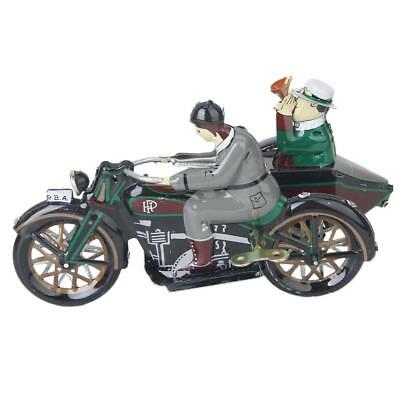 Vintage TIN TOY Wind Up Parade Motorcycle and Sidecar Model Clockwork Ideal Gift