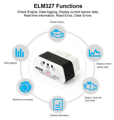 Vgate iCar2 ELM327 V2.1 WIFI Bluetooth OBD2 Code Reader for iPhone Android ISO