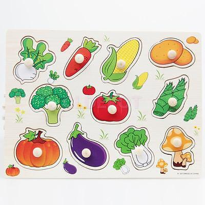 Vegetable Wooden Jigsaw Children Kids Baby Learning Educational Puzzle Toy