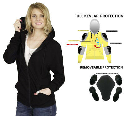 New Ladies Motorcycle Hoodie Kevlar® Lined & CE Removable Armour Size