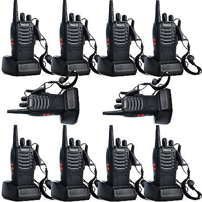 10x Walkie Talkies Retevis H-777 UHF 400-470MHz 16 Canales Monitor Con Auricular