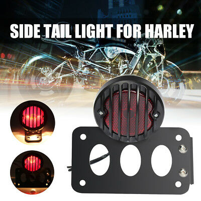 Side Mount Number License Plate Bracket Stop Rear Tail Light For Harley Chopper