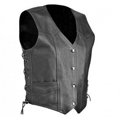 Mens Harley Style Motorcycle A Grade Cowhide Leather Laces up Vest Classic look