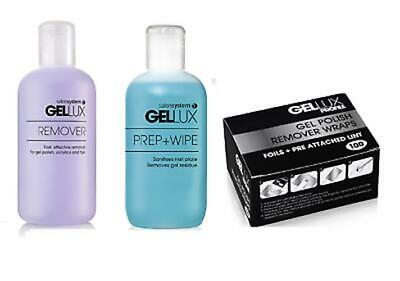 GELLUX Gel Nail Polish REMOVER & PREP + WIPE Pre Post Ap Cleanser - Size Options