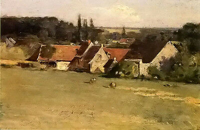 Oil painting theodore robinson - farmhouse at grez village landscape no framed