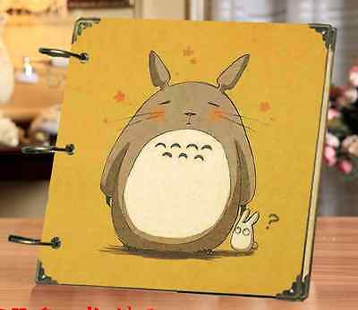DIY 30Pages 18x18cm Yellow Totoro Kraft Cover 3-ring Photo Album Scrapbook