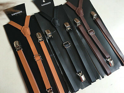 youth  PU leather fashion 3 buckles suspenders width51.18''