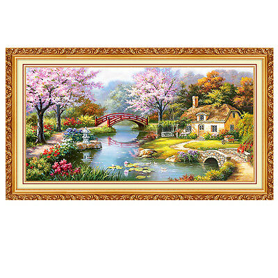 80x40cm DIY Diamond Painting Cross Stitch Kit Full Rhinestone Landscape Cottage