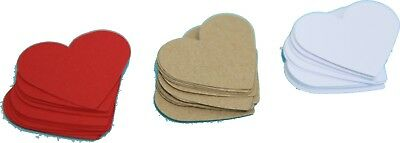 12/24 Handmade Red/White/Kraft Card Heart shaped Gift tags/labels