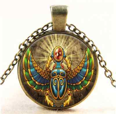 Vintage Egyptian Scarab Photo Cabochon Glass Bronze Chain Pendant  Necklace