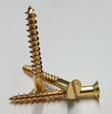 Solid Brass Countersunk Screw Slotted Head Wood Screws - Various Size and Qty