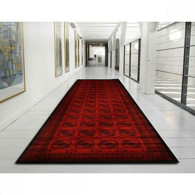 New Hall Runner Red Black Long Floor Rug Patterned Hallway Carpet Persian Rugs