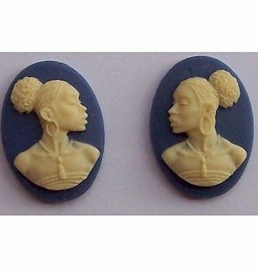 African American Cameo 18x13 Matched Pair Blue Resin Cameos  614x