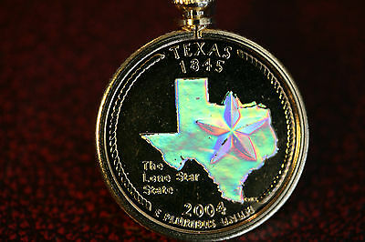 Texas Holographic Pendant & Necklace Gold Plated Coin Fashion Jewelry