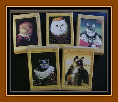 Set Of Five Noble Cat Gift Boxes With Vintage Cat Designs