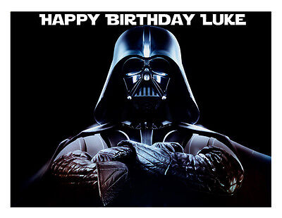 Darth Vader Personalised A4 Cake Topper Birthday Decoration Wafer/Icing Sheet