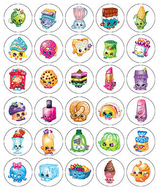 SHOPKINS BIRTHDAY EDIBLE WAFER CUPCAKE FAIRY CAKE TOPPERS DECORATIONS x 30