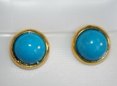 Vintage Genuine 14K Gf Quality Arizona Turquoise  Round Dome 10Mm Studs Earrings