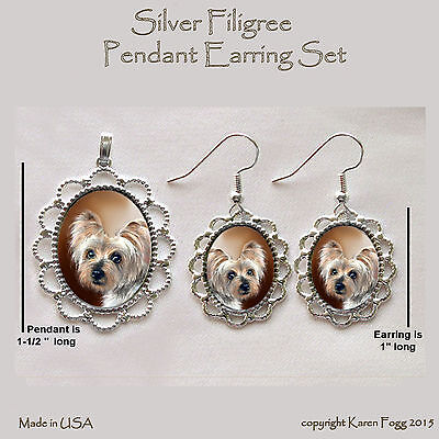 SILKY YORKIE TERRIER DOG - Filigree PENDANT EARRING Set