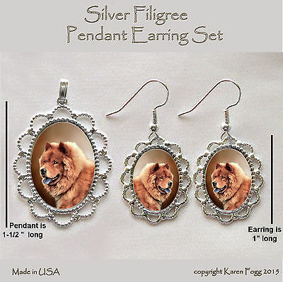 CHOW CHOW DOG Red -  Filigree PENDANT EARRING Set