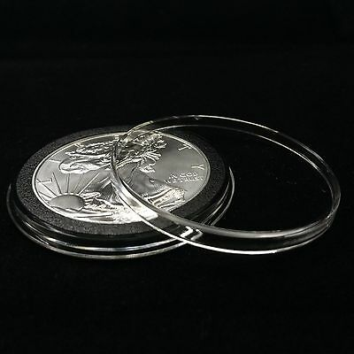100 Airtite Coin Capsule Holders with Black Ring for American Silver Eagle, 40mm