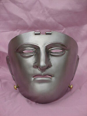 Roman sports steel face mask helmet leather backing hippika for standard bearer