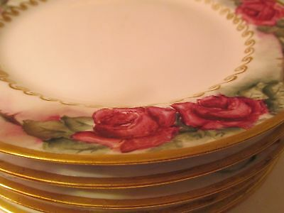 LOT OF FRENCH  ANTIQUE HOLIDAY  handpainted HEAVY DOUBLE GOLD LIMOGES PLATES