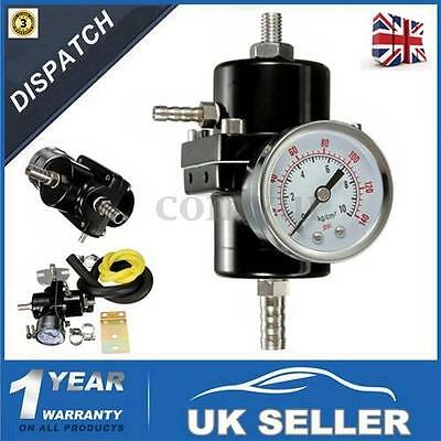 Universal Black Adjustable Fuel Pressure Regulator With Gauge 140 Psi - Uk