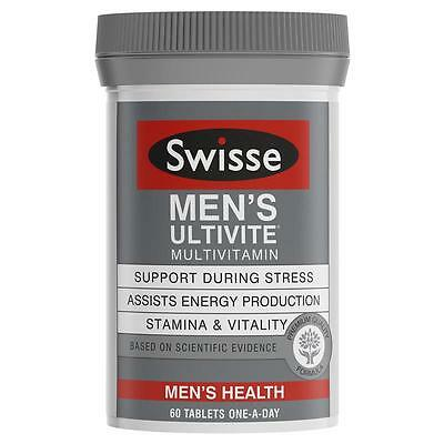 2 x Swisse Men's Ultivite Multivitamin 60 tablets : Stamina + Vitality + Energy