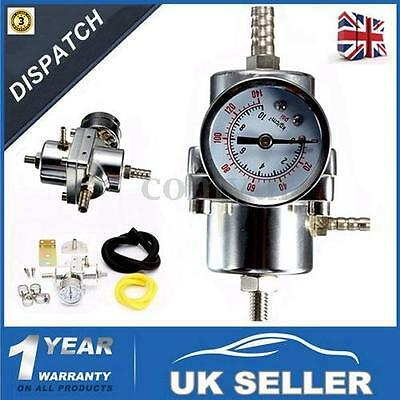 Universal Silver Fuel Pressure Regulator With Gauge 140 Psi Adjustable -Uk Stock