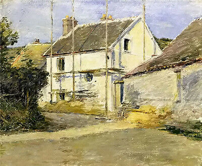Oil painting theodore robinson - house with scaffolding landscape no framed art