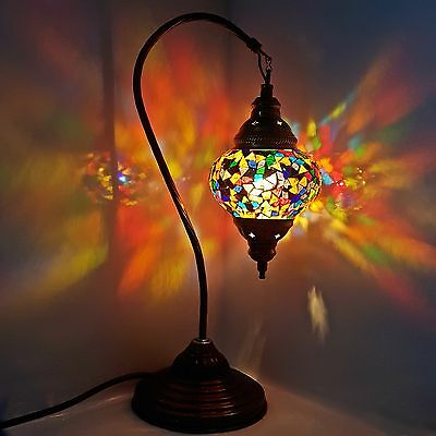 Turkish Moroccan Colourful Mosaic Lamp Light Tiffany Glass Desk Table Lamp