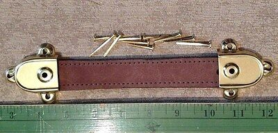 """8 3/4""""  Leather Trunk Handle-Chestnut Finish-Hardware Included-4245C"""