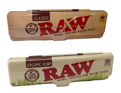 RAW King Size Authentic Rolling Paper Case Holder Metal Tin - Classic or Organic