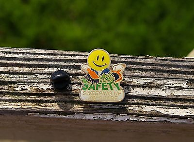 Wal-Mart Saftey Smiley Face Sweeping Up My Share Enamel Employee Pin Pinback