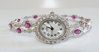 GENUINE 11+ct Ruby & White Topaz, MOP, Bracelet Watch,Solid Sterling Silver 925