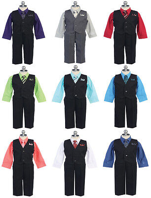 Cute Boy's Infant 4 Piece Formal Pinstripe Vest Suit w/ Color Dress Shirt & Tie