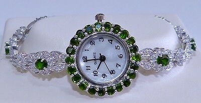 GENUINE 4.5ct Chrome Diopside, MOP, Bracelet Watch,Solid Sterling Silver 925
