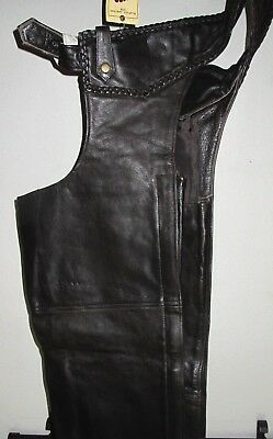 Mens New Premium Buffalo Braided Leather Retro Brown Biker Motorcycle Chaps $209