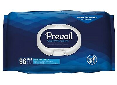 Prevail Adult Disposable Washcloth Wipe, Vitamin E/Aloe Wipes, WW-720 -Pack/96