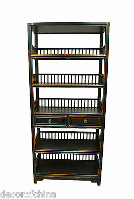 Black Chinese Wooden Ming Style Display Bookshelf Bookcase Cabinet w/2 Drawers