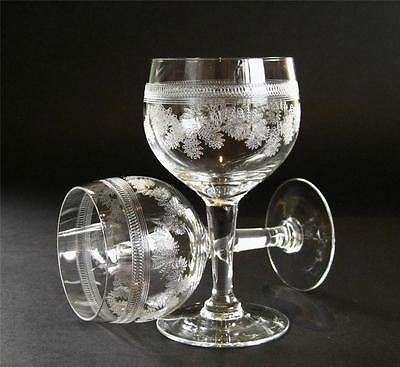 Pair of vintage Dessert Wine / Sherry glasses, delicate etched pattern.