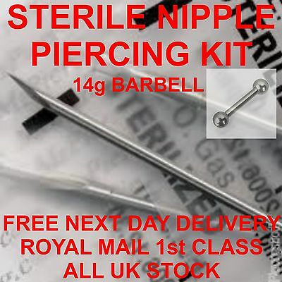 STERILE NIPPLE PIERCING KIT BARBELL 14g*** FREE 1St Class Post***