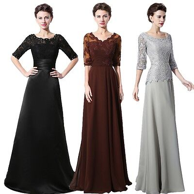 Half Sleeve Elegant Lace Chiffon Mother Of Bride Dresses Long Formal Prom Gowns