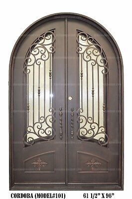 wrought Iron Entry Doors, Doors with iron Works, Half moon Top(In stock)