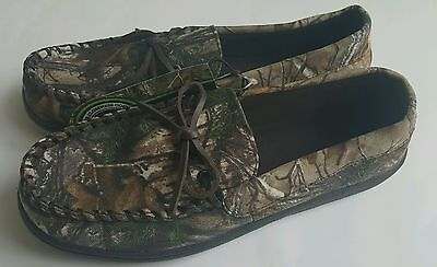 Realtree Men's Camo Tie Moccasin Slip-on Slippers/Shoes: S(7-8)-XL(13-14)