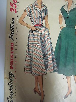 Vtg 40s Simplicity 4448 FITTED BODICE KIMONO SLEEVES DRESS Sewing Pattern Women